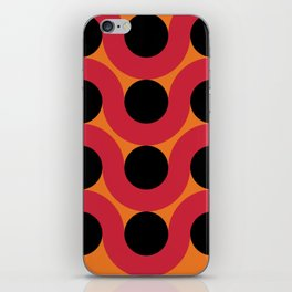 Black Balls on red Elastic Worms in an Orange Background iPhone Skin