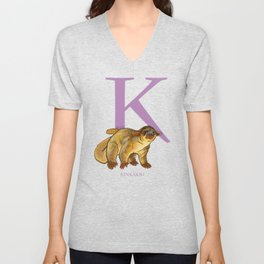 K is for Kinkajou: Under Appreciated Animals™ ABC nursery decor golden yellow unusual animals Unisex V-Neck