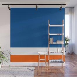 UNEVEN BRILLIANT BLUE DAZZLING WHITE COSMIC ORANGE STRIPED Wall Mural