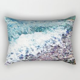Waves lap at the shore - painting - art gift - abstract Rectangular Pillow