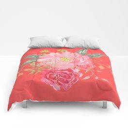 Pink Floral Watercolor Comforters