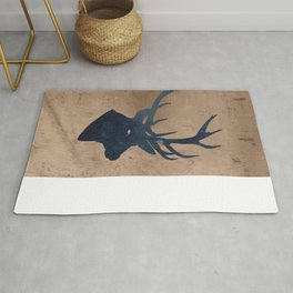 Grunge Deer Stag Simple Illustration for Men Rug
