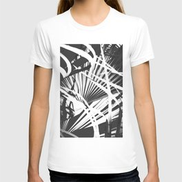 palm tree leaves - black and white plant pattern T-shirt