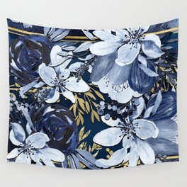 Navy Blue & Gold Watercolor Floral Wall Tapestry