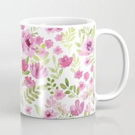 Watercolor/Ink Sweet Pink Floral Painting Coffee Mug