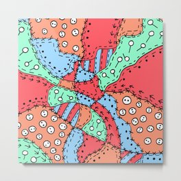 Doodle Art Buttons and Pins - Red Green Blue Metal Print