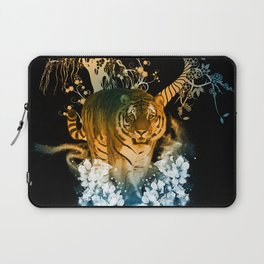 Beautiful tiger with flowers Laptop Sleeve