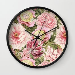 Vintage & Shabby Chic Floral Peony & Lily Flowers Watercolor Pattern Wall Clock