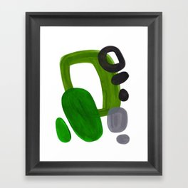 Mid Century Vintage 70's Design Abstract Minimalist Colorful Pop Art Olive Green Dark Green Grey Framed Art Print