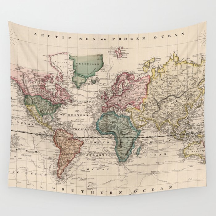 Vintage Map of The World (1833) Wandbehang