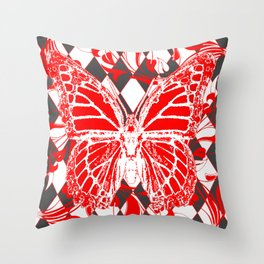DECORATIVE RED & WHITE HARLEQUIN  PATTERN Throw Pillow
