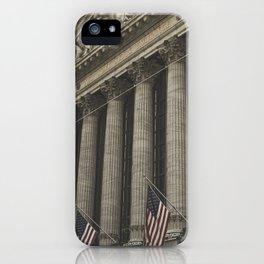 New York, Wall Street, stock exchange building, US flag, I love NY iPhone Case