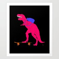 trex Art Prints featuring Hot Pink TRex Skateboarding by PostersforNerds