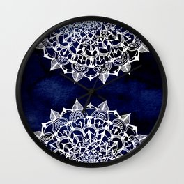 White Lace Medallion on Ink Blue Wall Clock