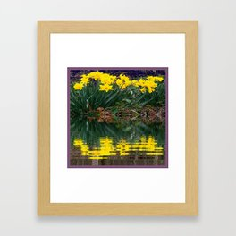 PUCE & YELLOW DAFFODILS WATER REFLECTION PATTERN Framed Art Print