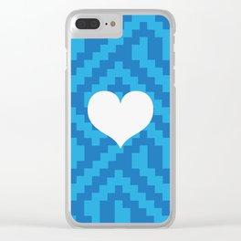 Blue Locking Love Clear iPhone Case