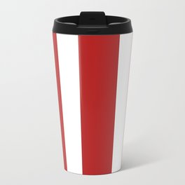 Mixed Vertical Stripes - White and Firebrick Red Travel Mug