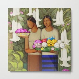 Flowers of Mexico, Angel's Trumpet, Tiger Lilies, Bougainvillea,& Peonies by Alfredo Martinez Metal Print