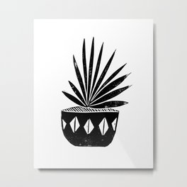 houseplant linocut aloe vera art botanical black and white lino printmaking art minimal modern Metal Print