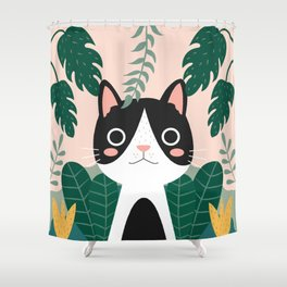 Jungle Cat Black and White Shower Curtain