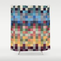 pixel Shower Curtains featuring Pixel by crrr