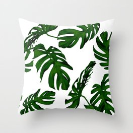 Simply Tropical Palm Leaves in Jungle Green Throw Pillow