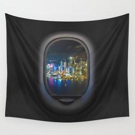 Hong Kong by Night Airplane Porthole Hublot View Art Wall Tapestry