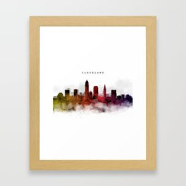 Cleveland Watercolor Skyline Framed Art Print