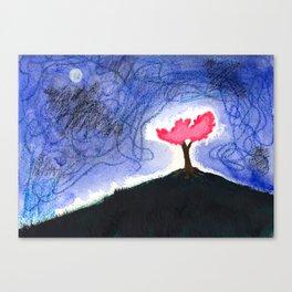 Japanese Cherry tree at night Canvas Print