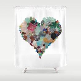 Love - Original Sea Glass Heart Shower Curtain