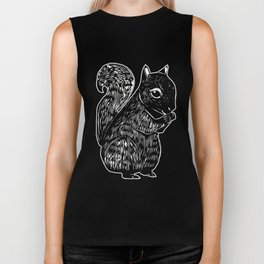 Black Squirrel Printmaking Art Biker Tank