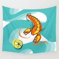 lobster Wall Tapestries featuring Rock Lobster by Moirarae