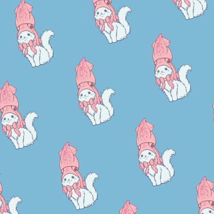 White Cat Wears Squid Hat Leggings