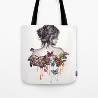butterfly Tote Bags featuring Butterfly Effect by KatePowellArt