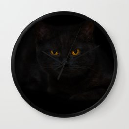 Black cat in a dark room Wall Clock