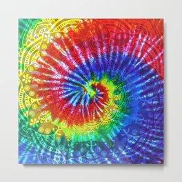 Tie-Dye Boho Mandala Metal Print