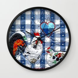 Hen & Rooster in blue Wall Clock