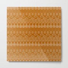 Mudcloth Style 1 in Orange Metal Print