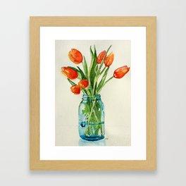 Watercolor Tulips in Teal Ball Jar Framed Art Print