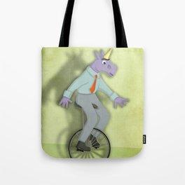Unibrow Unicorn on Unicycle Tote Bag