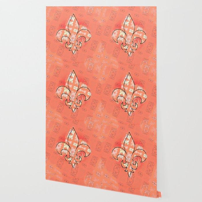 Fleur De Lis Pattern In Orange Wallpaper
