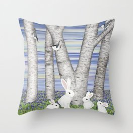 nuthatches, bunnies, and birches Throw Pillow