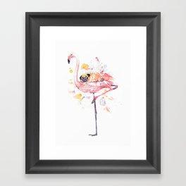 Flamingo and Pug Watercolor Framed Art Print