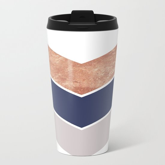 Scandinavian Copper Navy Gray Geometric Pattern Metal Travel Mug