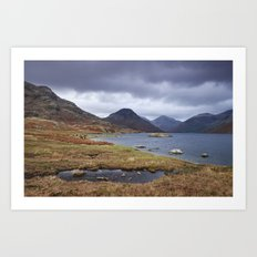 Rain clouds over Scafell and Great Gable. Wastwater, Cumbria, UK. Art Print