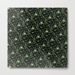 Cryptid Pattern: Green Lines Metal Print