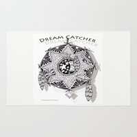 zentangle Area & Throw Rugs featuring Zentangle Dreamcatcher by Vermont Greetings