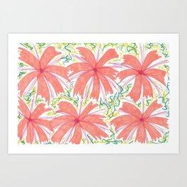 Tropical Sunburst Flowers Art Print