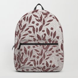 Stylish rose gold burgundy silver glitter gradient floral Backpack