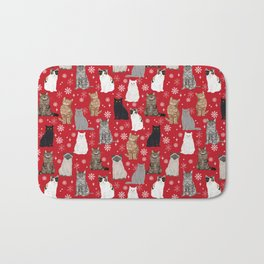 Cat red and white snowflakes festive winter gifts for cat person cat lady cat man christmas Bath Mat